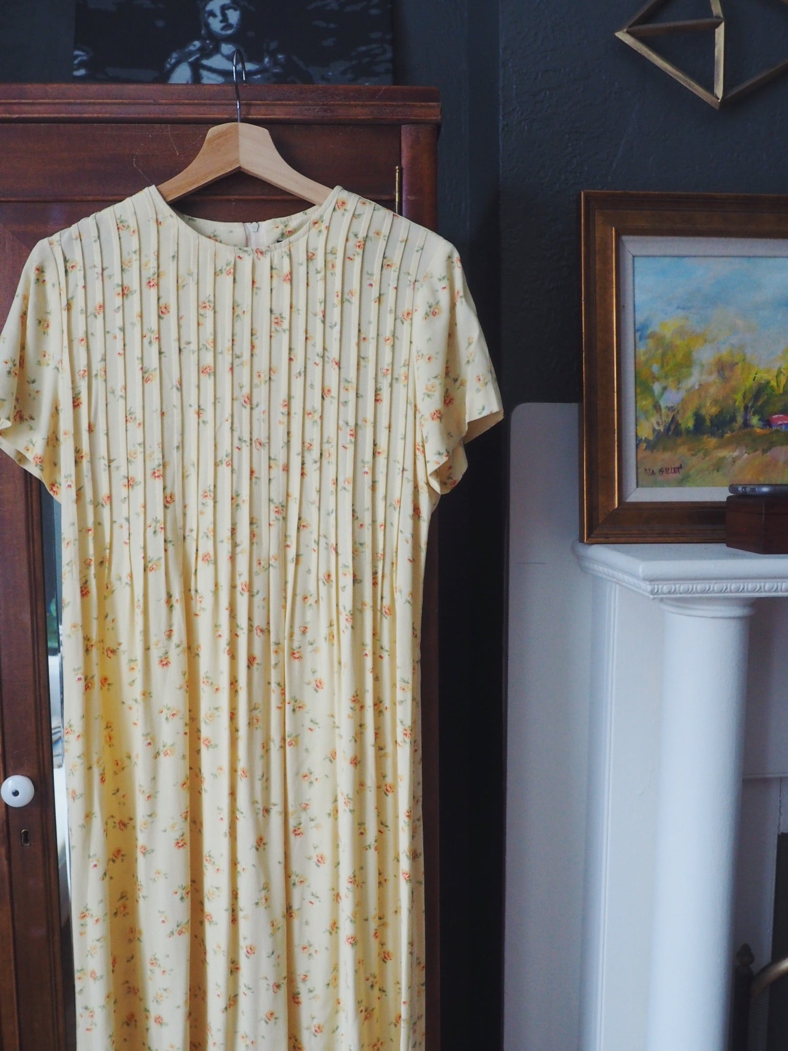 Vintage Yellow Floral Maxi Dress