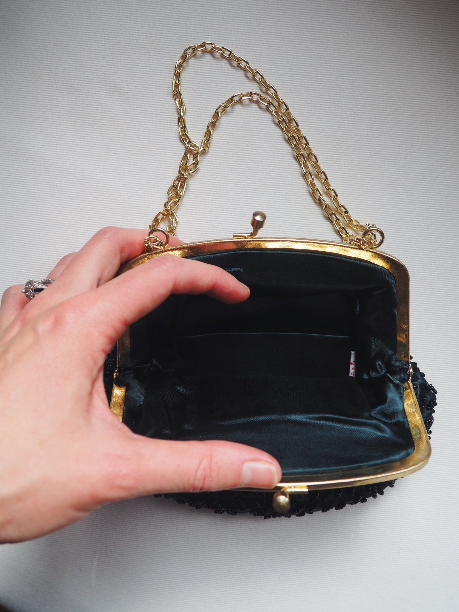 Vintage Black Beaded Evening Purse with Gold Chain