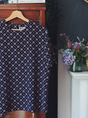 Vintage Navy Modern Graphic Print Blouse