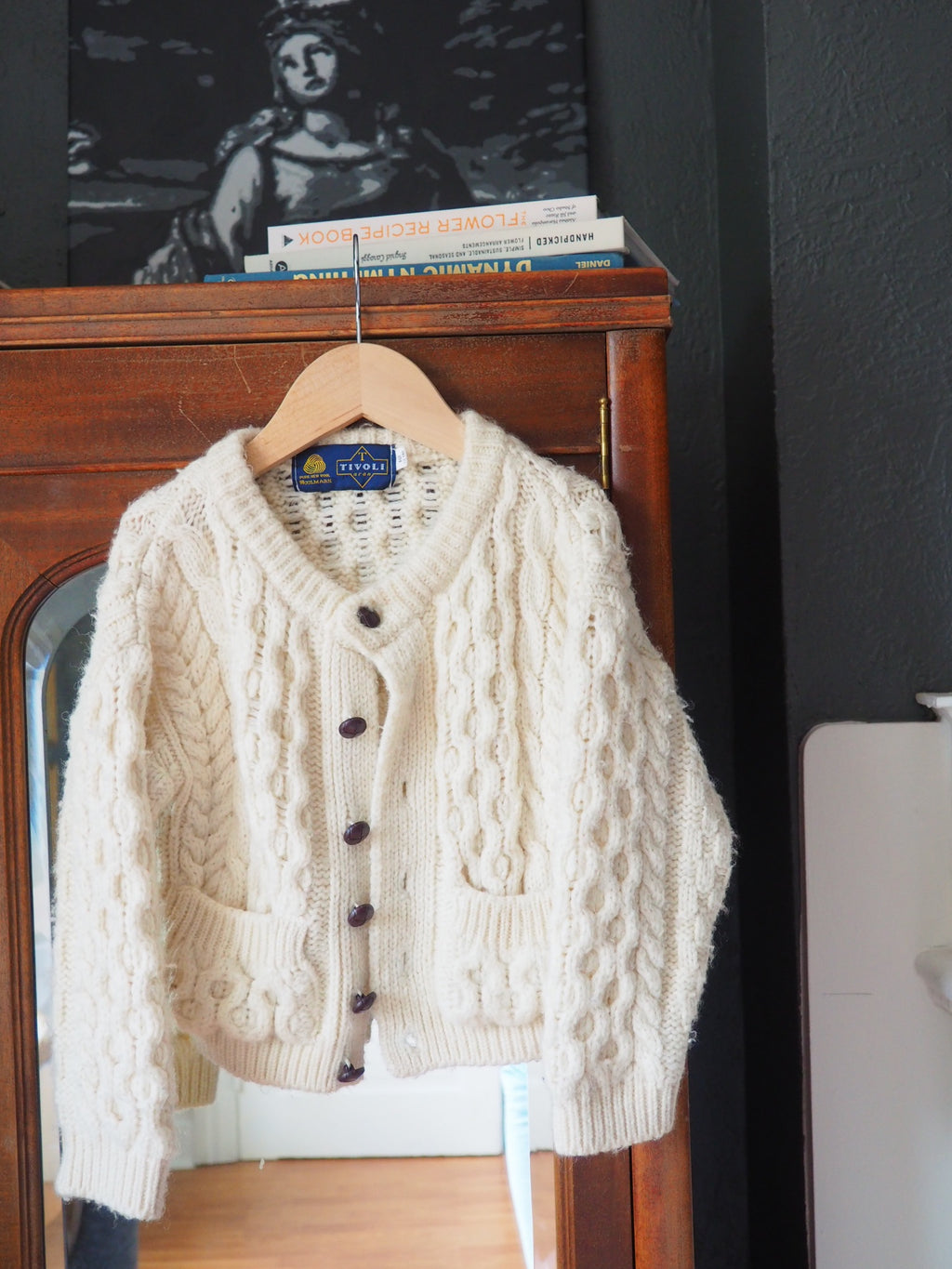 Vintage Cream Cable Knit Cardigan