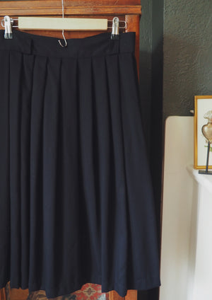 Vintage Made in the USA Pleated Black Midi Skirt