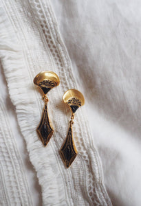 Vintage Brass & Black Bead Drop Earrings