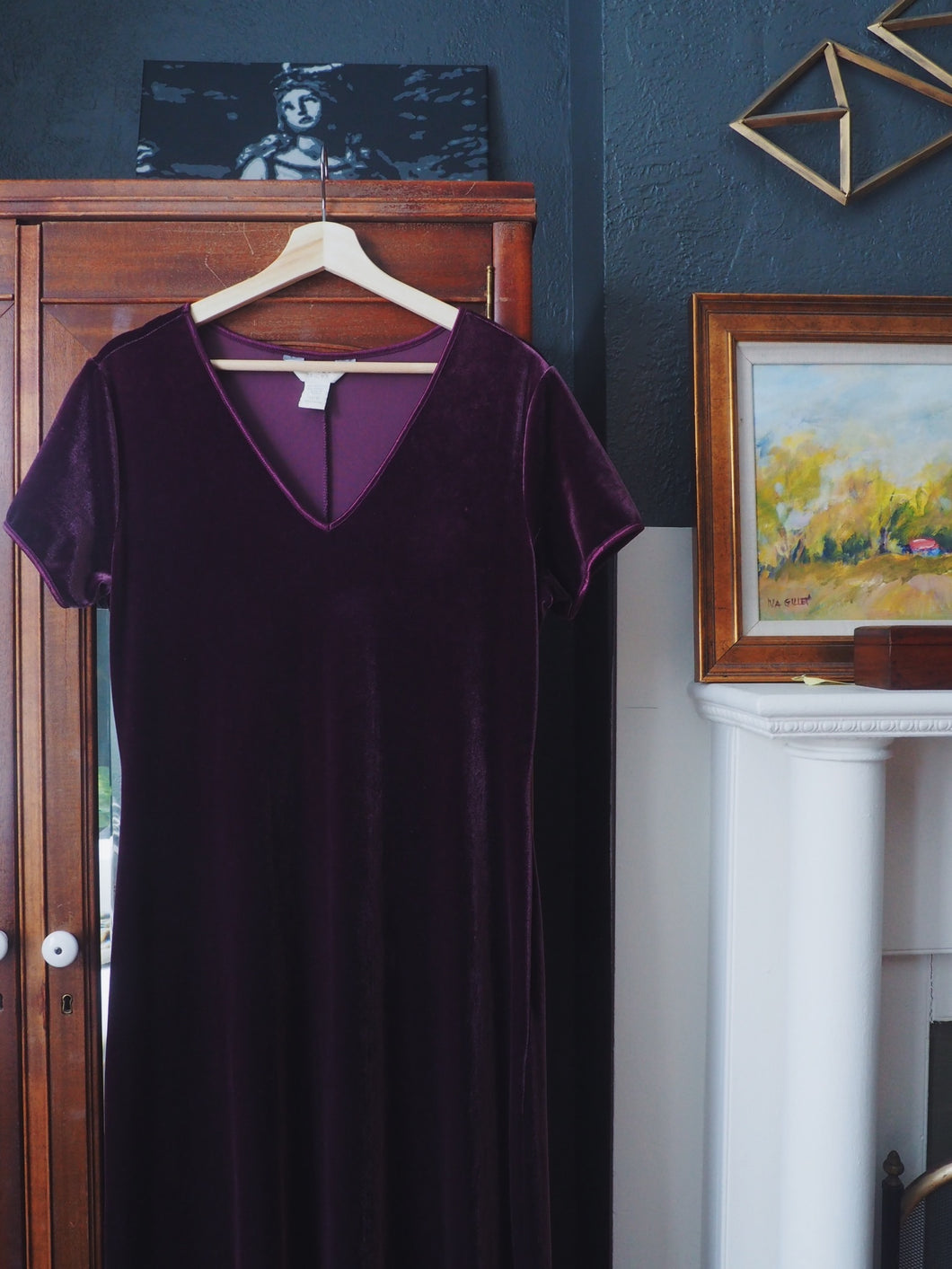 Purple Velvet Short Sleeve Maxi