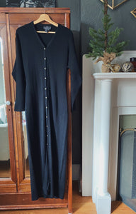 Vintage Long-Sleeve Button Front Sweater Maxi Dress