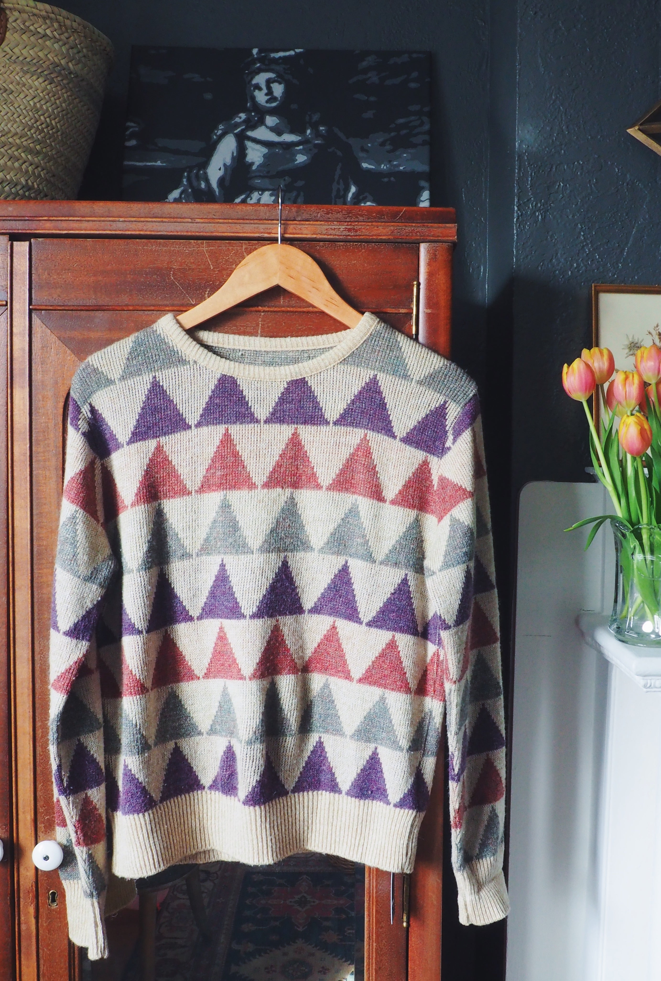 Retro Triangle Print Pullover Sweater
