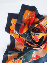 Load image into Gallery viewer, Vintage Floral Navy Scarf