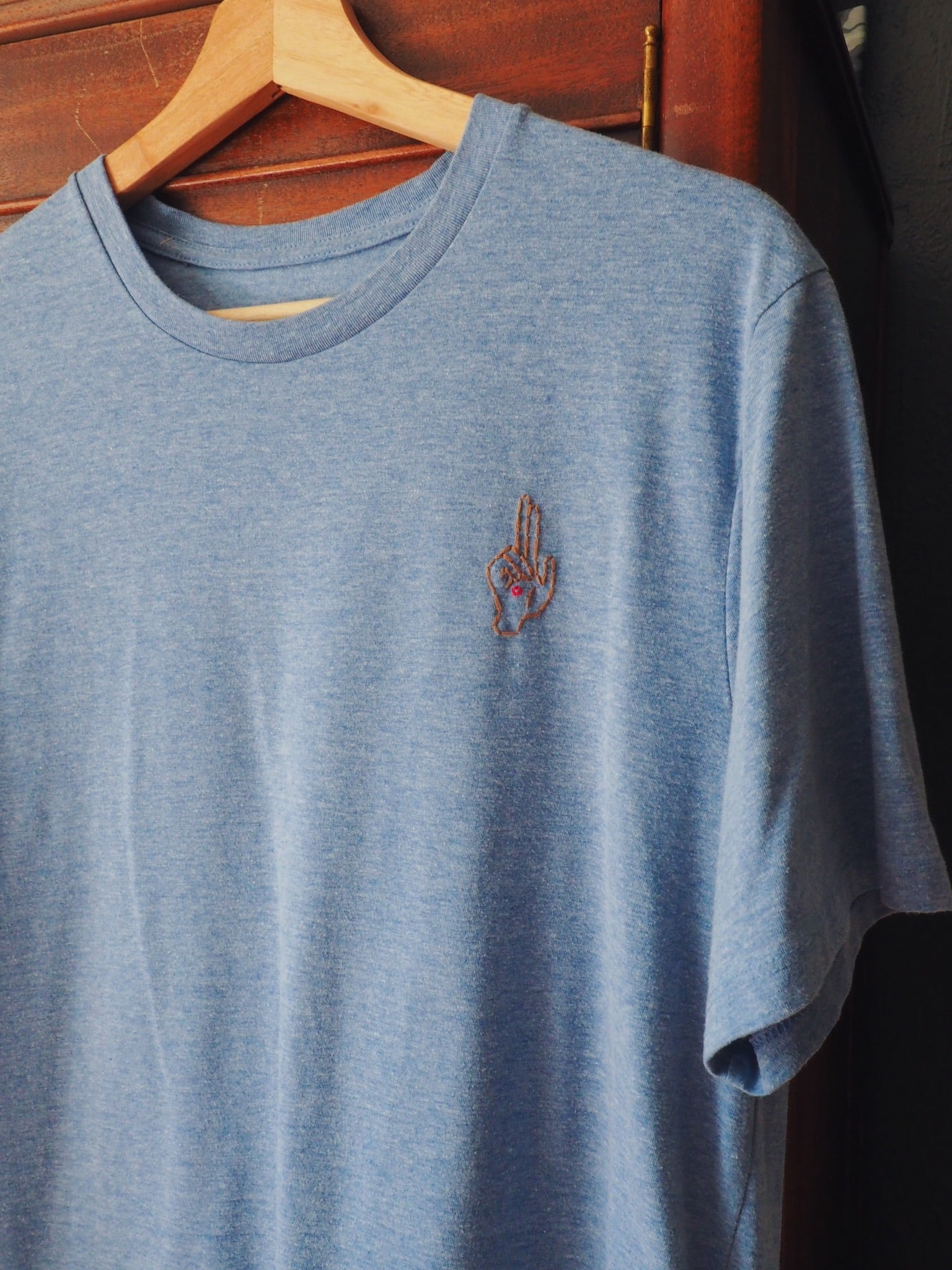 Thrifted & Threaded Wounded Healer T in Sky Blue