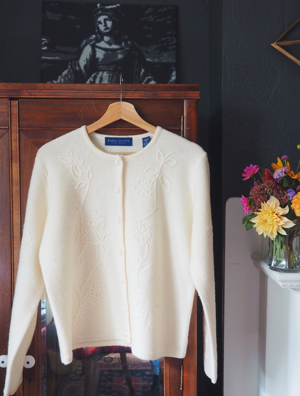 Vintage Floral-Stitched Wool Cardigan