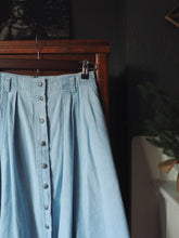 Load image into Gallery viewer, Vintage Button Front A-Line Denim Midi Skirt