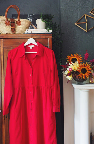 Red Corduroy Button-Front Shirt-Dress