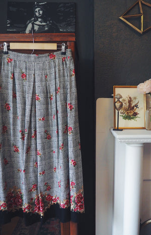 Vintage Made in the USA Floral Print Midi Skirt