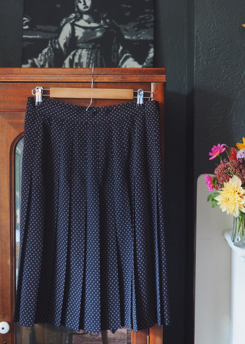 70's Pleated Diamond-Print Skirt