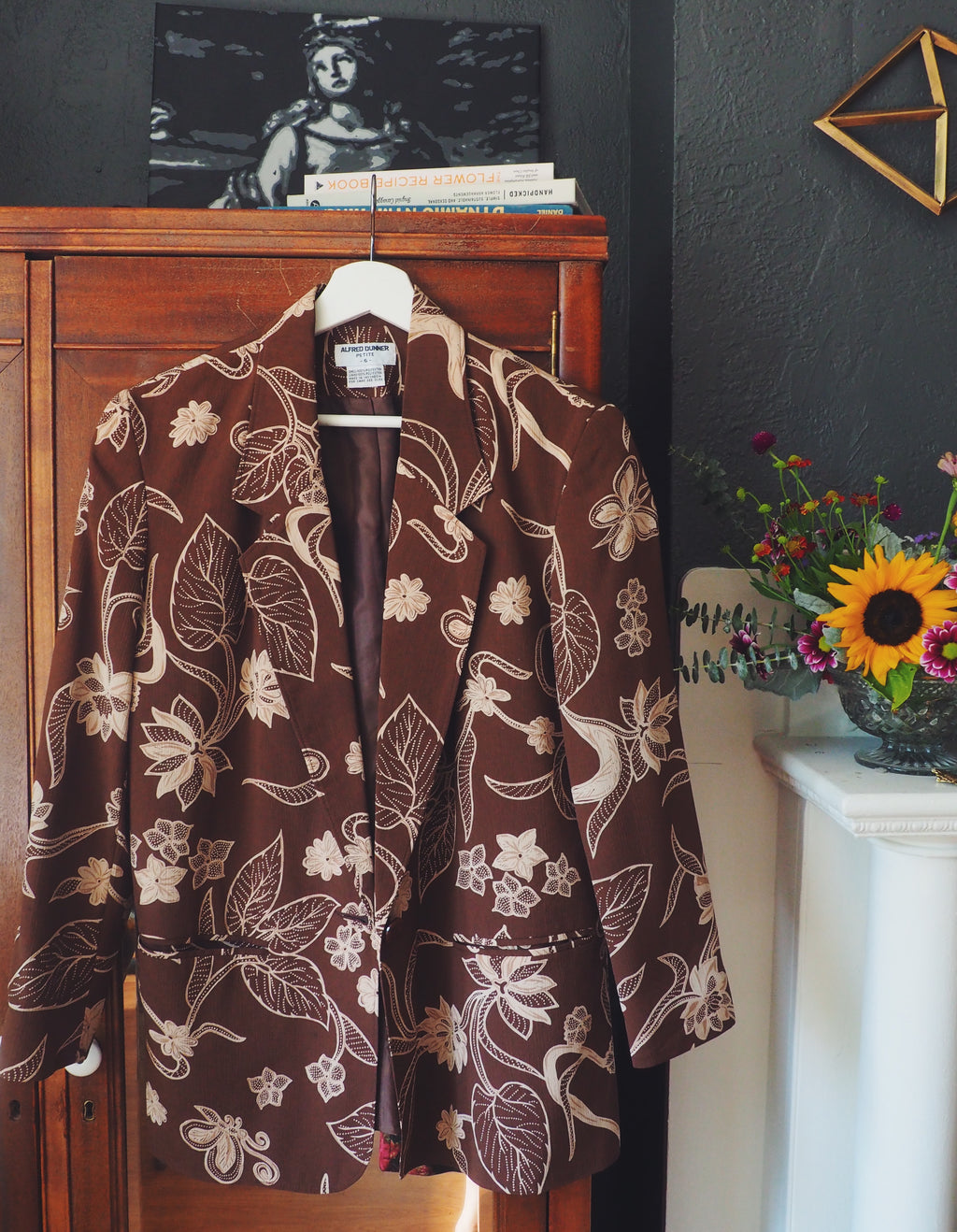 Vintage Brown Floral Soft Blazer