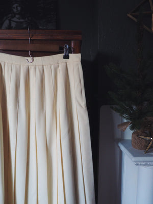 Vintage Wool Cream Pleated Midi