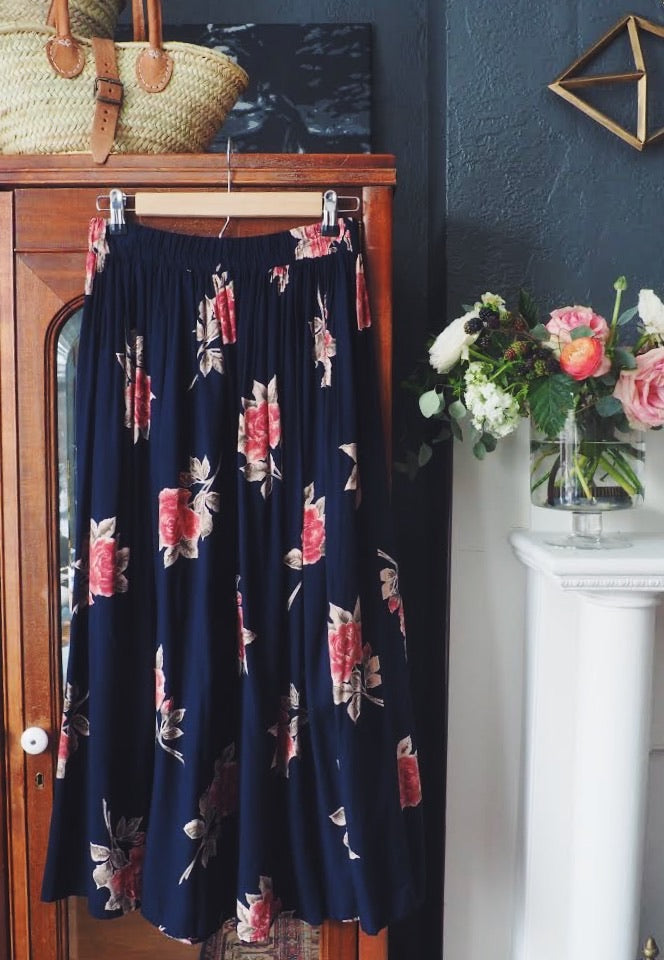 80s Navy Rose Floral A-Line Midi Skirt