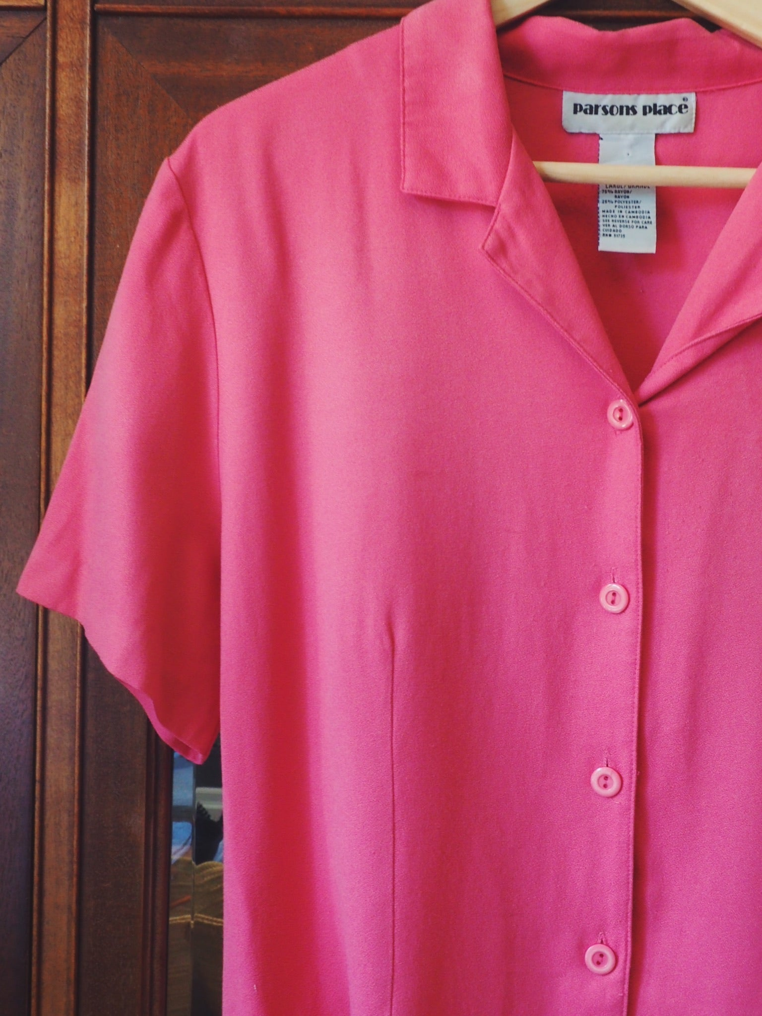 Vintage Pink Button-Down Short-Sleeve Blouse