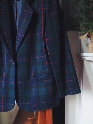 Vintage Plaid Blazer with Velvet Collar
