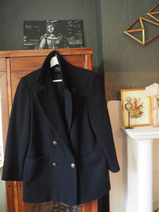Vintage Nautical Button Black Blazer