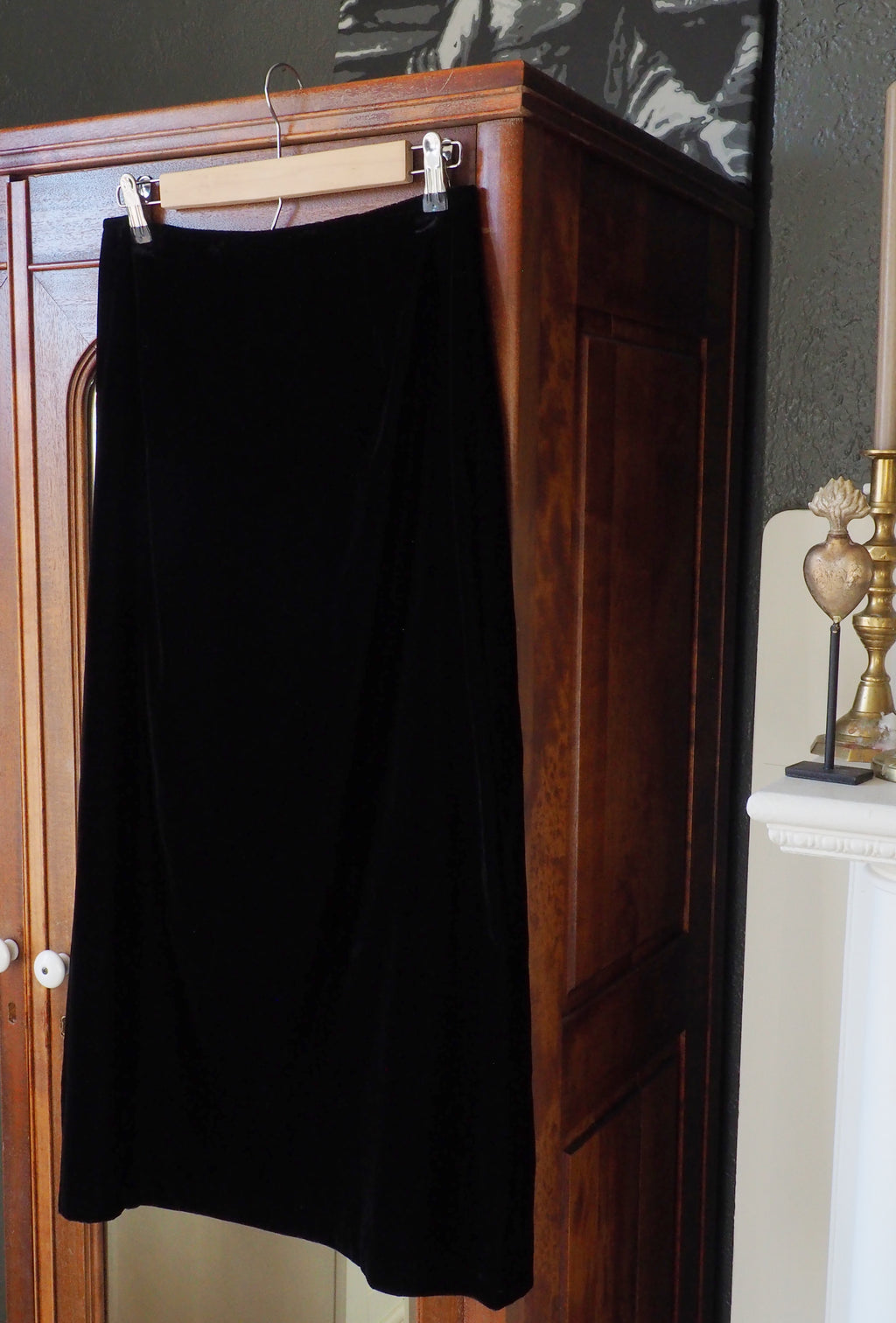 Vintage Made in the USA Black Velvet Midi Skirt