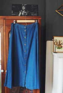Denim Button-Front Midi Skirt