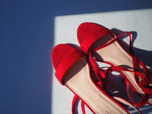 Load image into Gallery viewer, Red Suede Lace Up Heels