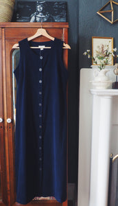 90s Navy Button Front Jumper Maxi