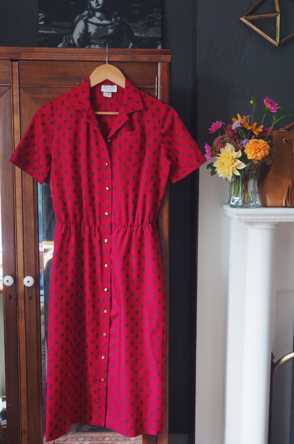 Maroon Paisley Button Down Dress