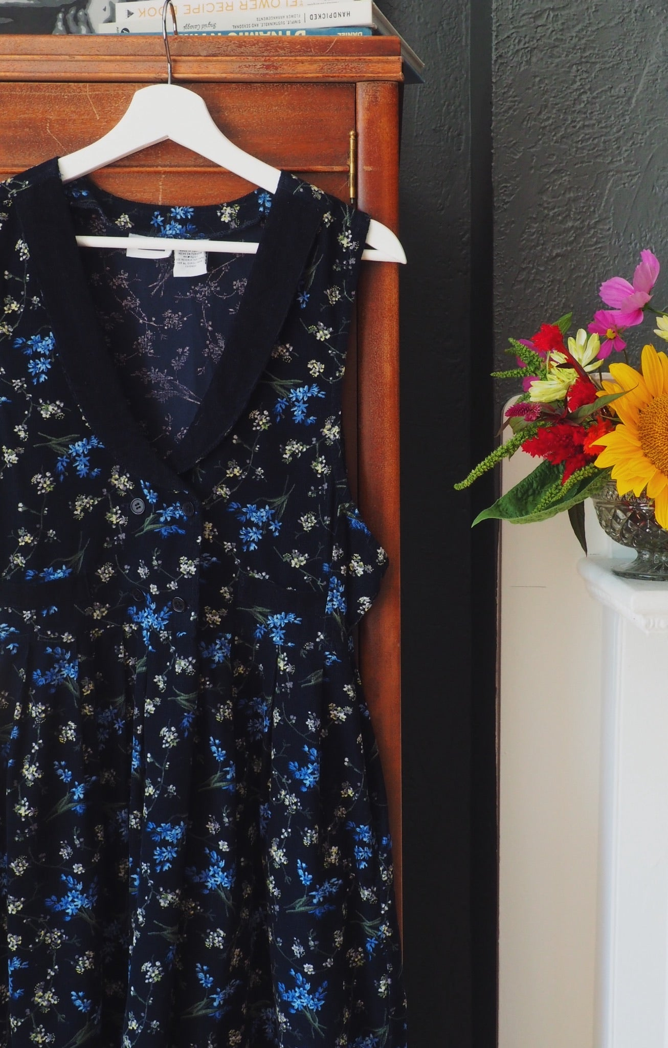 Vintage Floral Corduroy Midi Dress