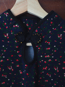 Vintage Navy Floral Cotton Dress