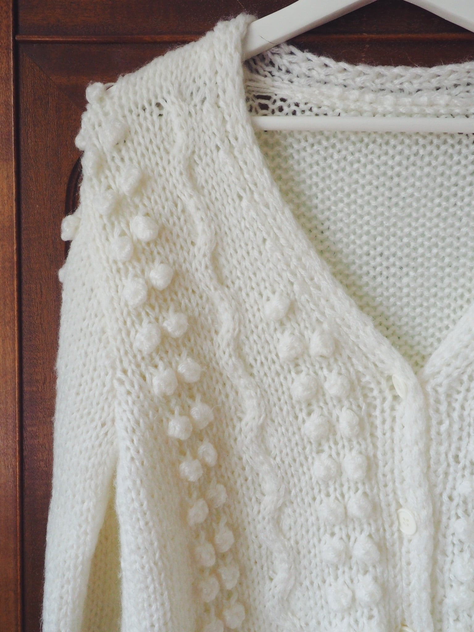 Vintage Cable Knit Pom Cardigan