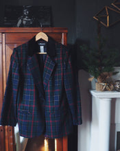 Load image into Gallery viewer, Vintage Plaid and Gold Blazer with Velvet Collar