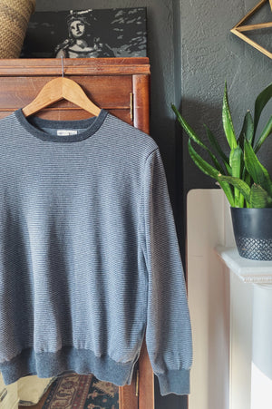 Grey Striped Crewneck Sweater