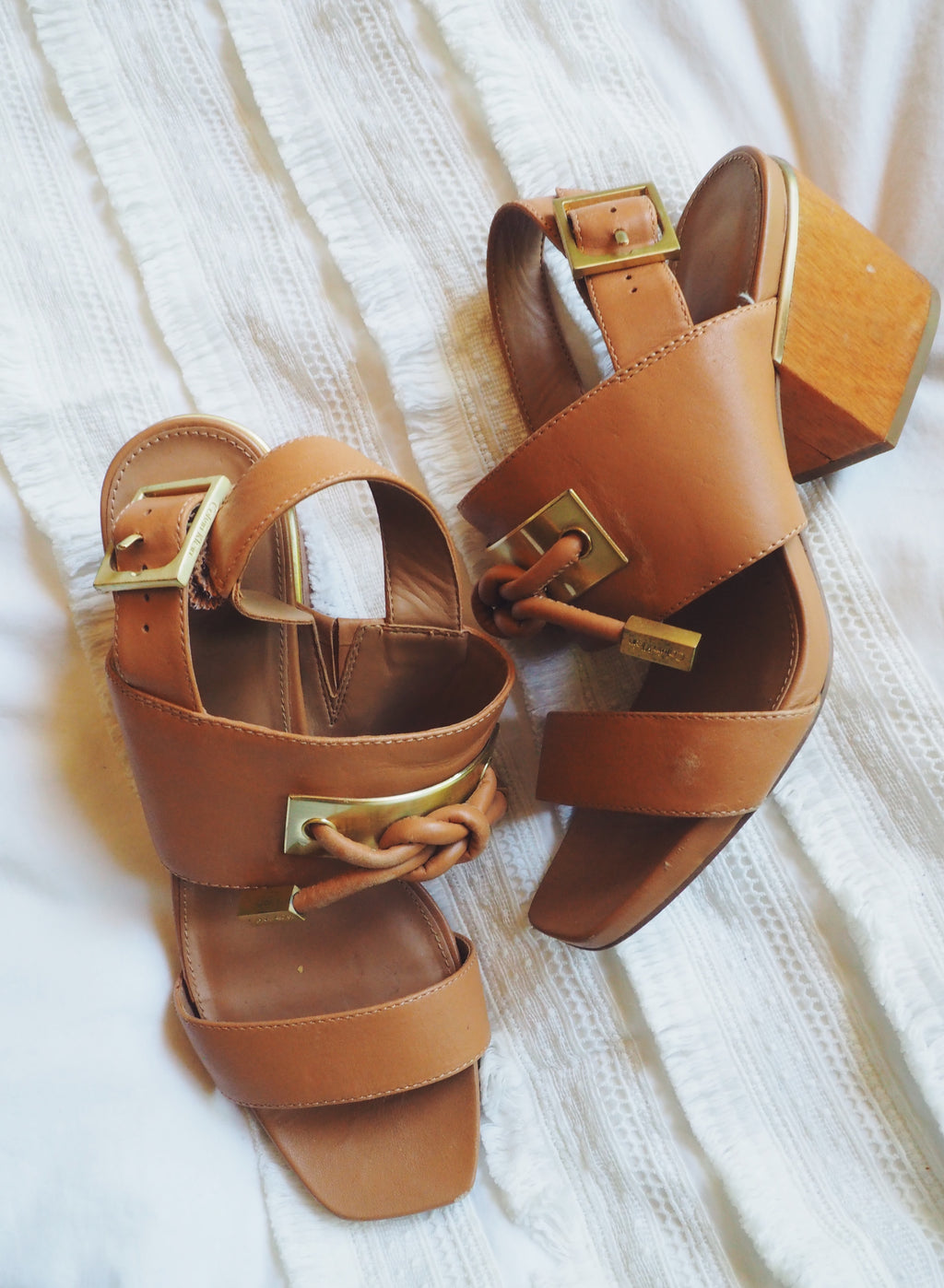 Calvin Klein Caramel Leather Block Heel Sandals