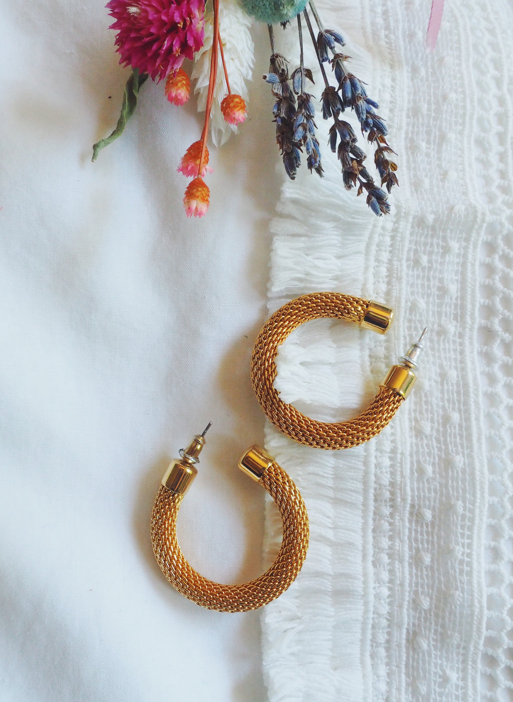 80s Chain Warm Gold Hoops