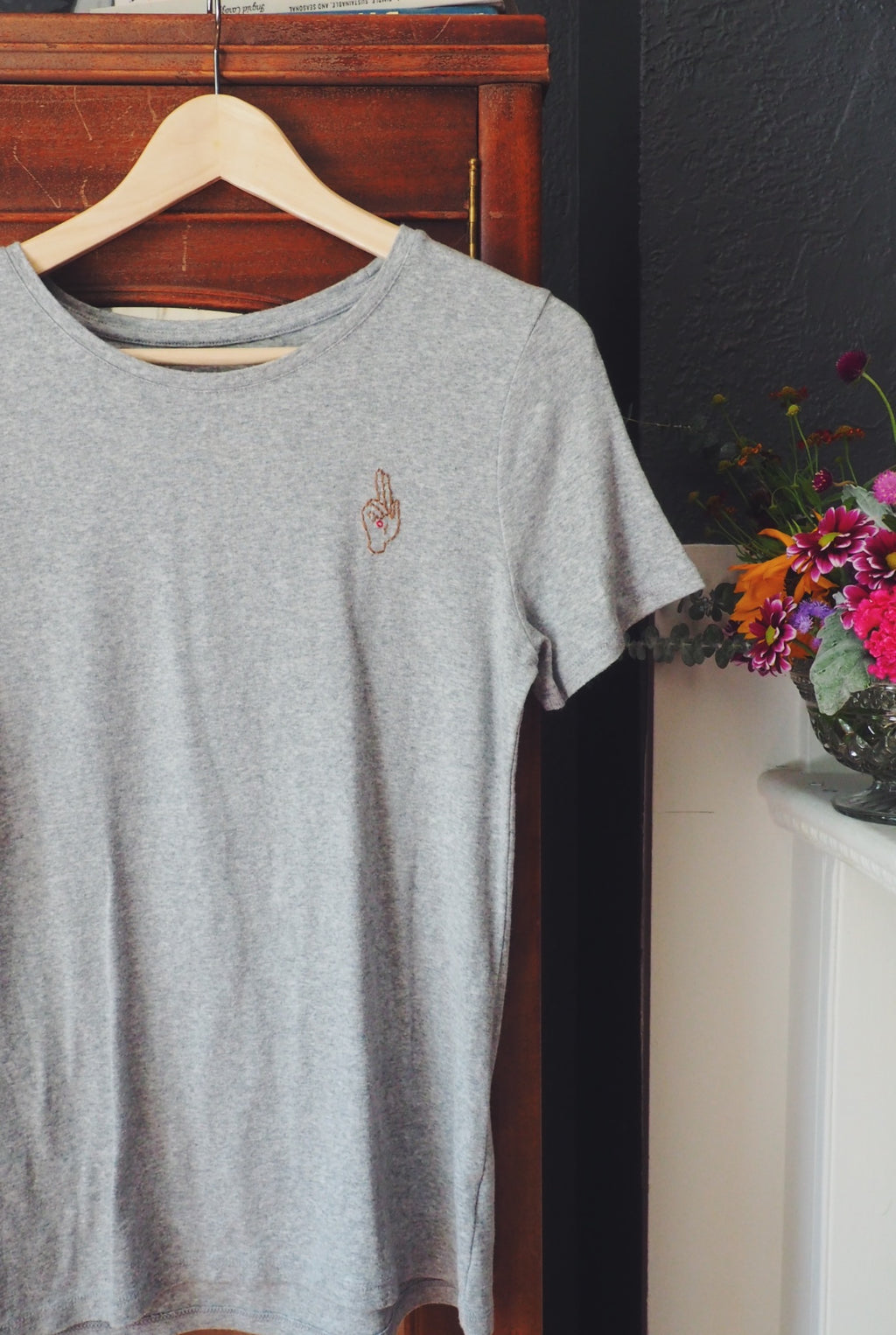 Thrifted & Threaded Wounded Healer T in Gray