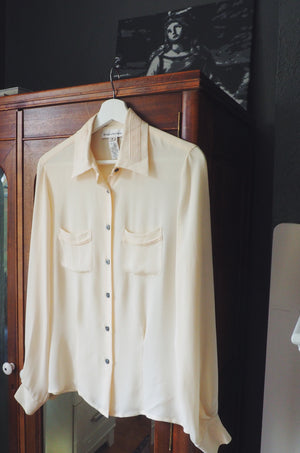 Pure Silk Cream Button Down Blouse