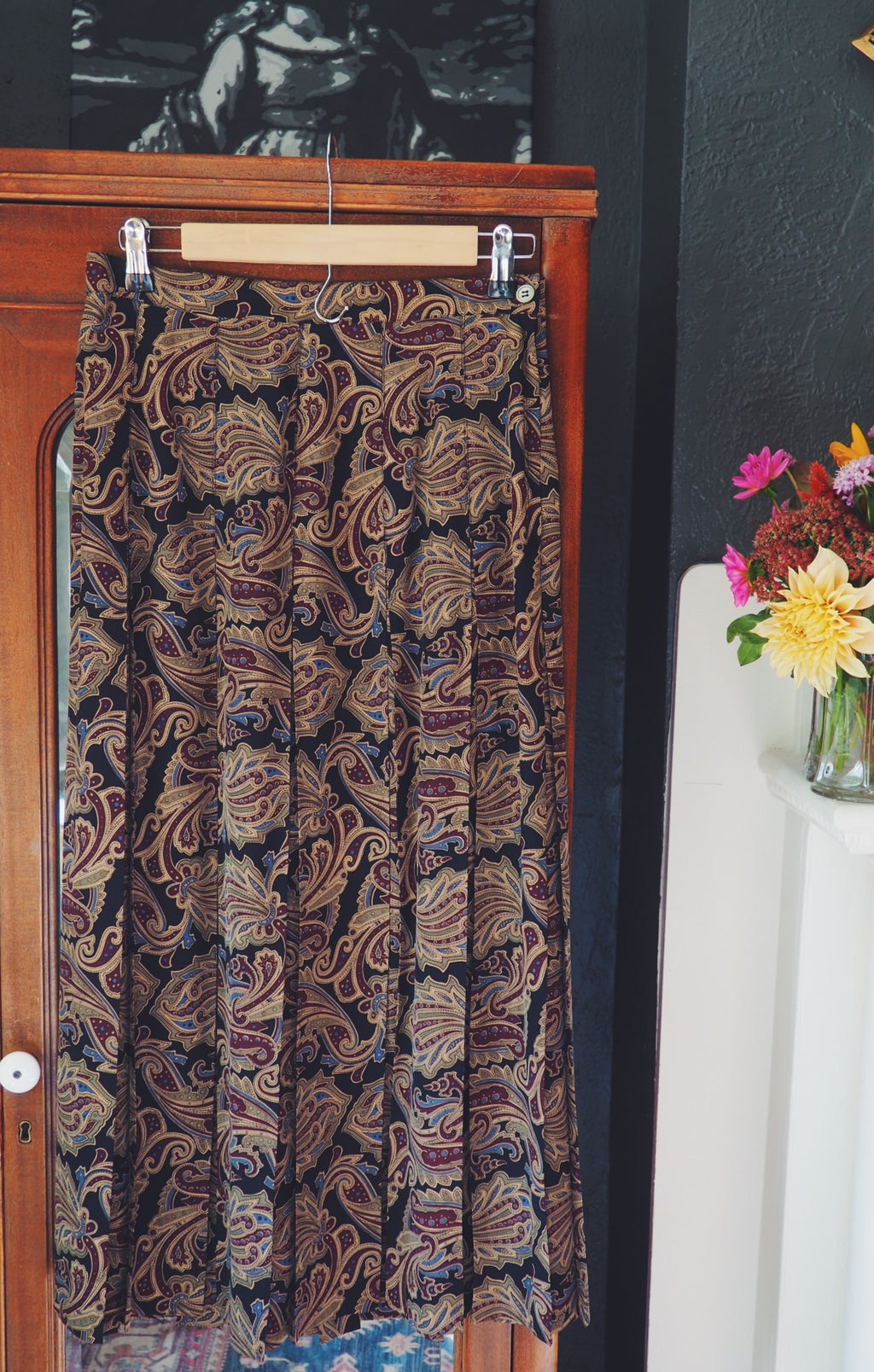 Vintage 100% Silk Pleated Midi Skirt