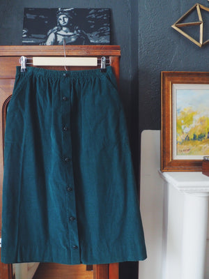 Vintage Corduroy Button Front Skirt
