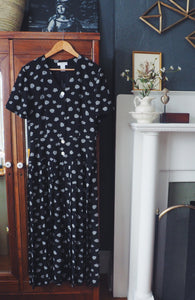 Liz Claiborne Black Floral Pleated Midi Dress