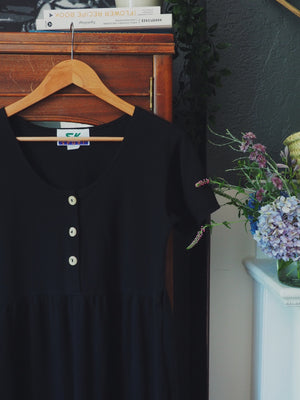 Vintage Black Cotton Empire Waist Midi Dress