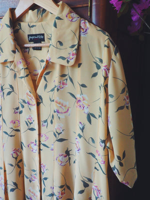 90s Yellow Floral Short-Sleeve Button Front Dress