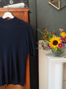 Vintage Navy Short Sleeve Knit Turtleneck