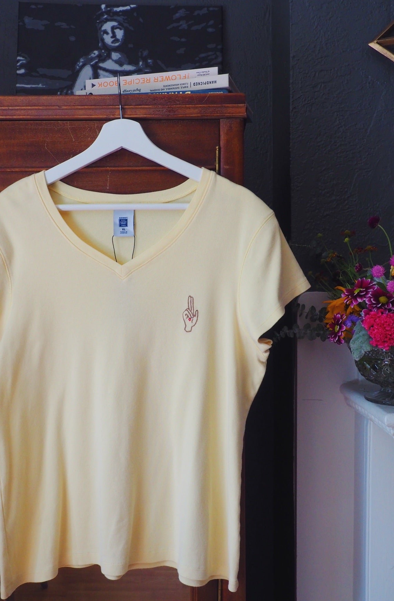 Thrifted & Threaded Wounded Healer V-Neck T in Yellow