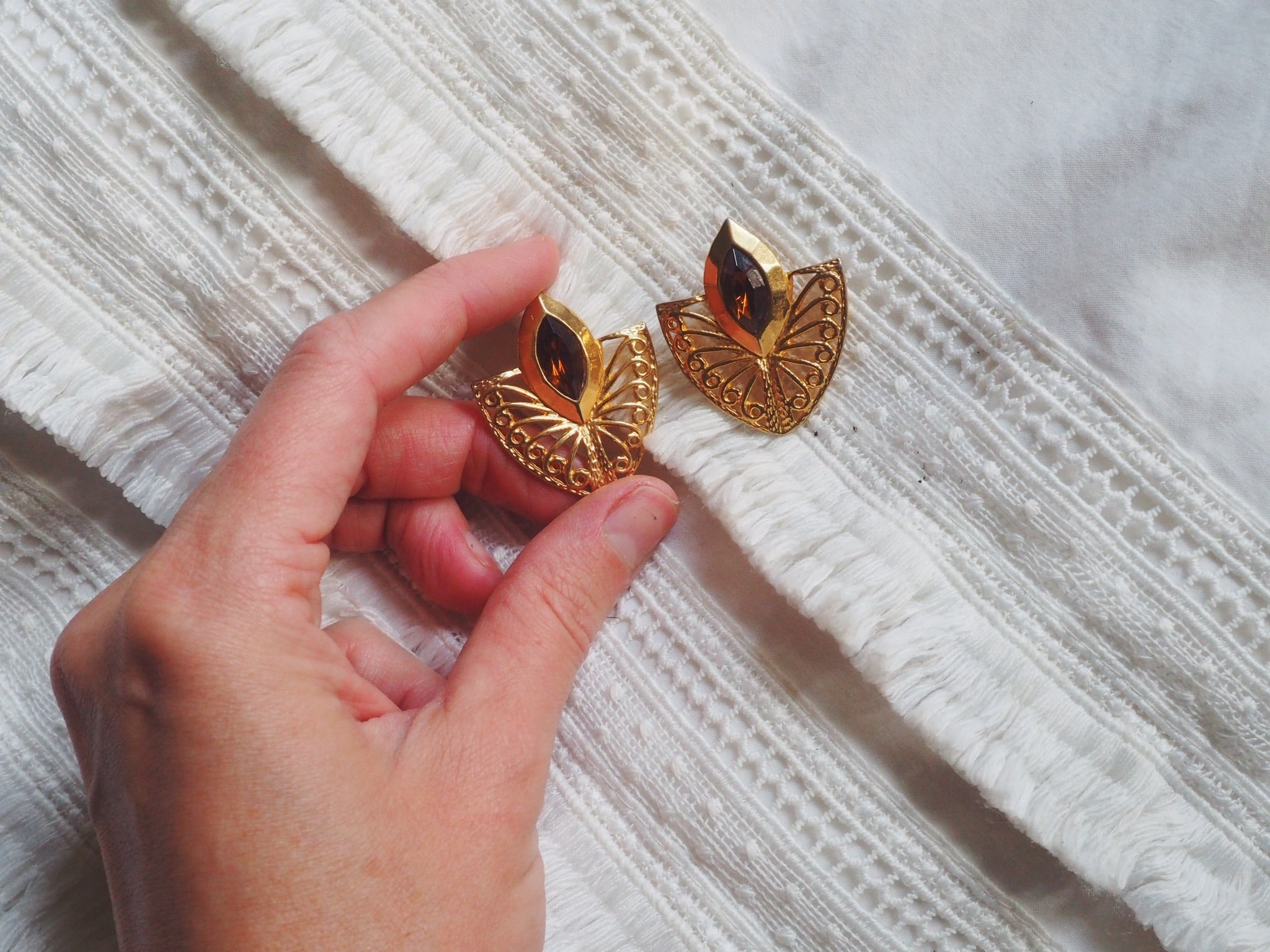 Vintage Brass Jewel Statement Earrings