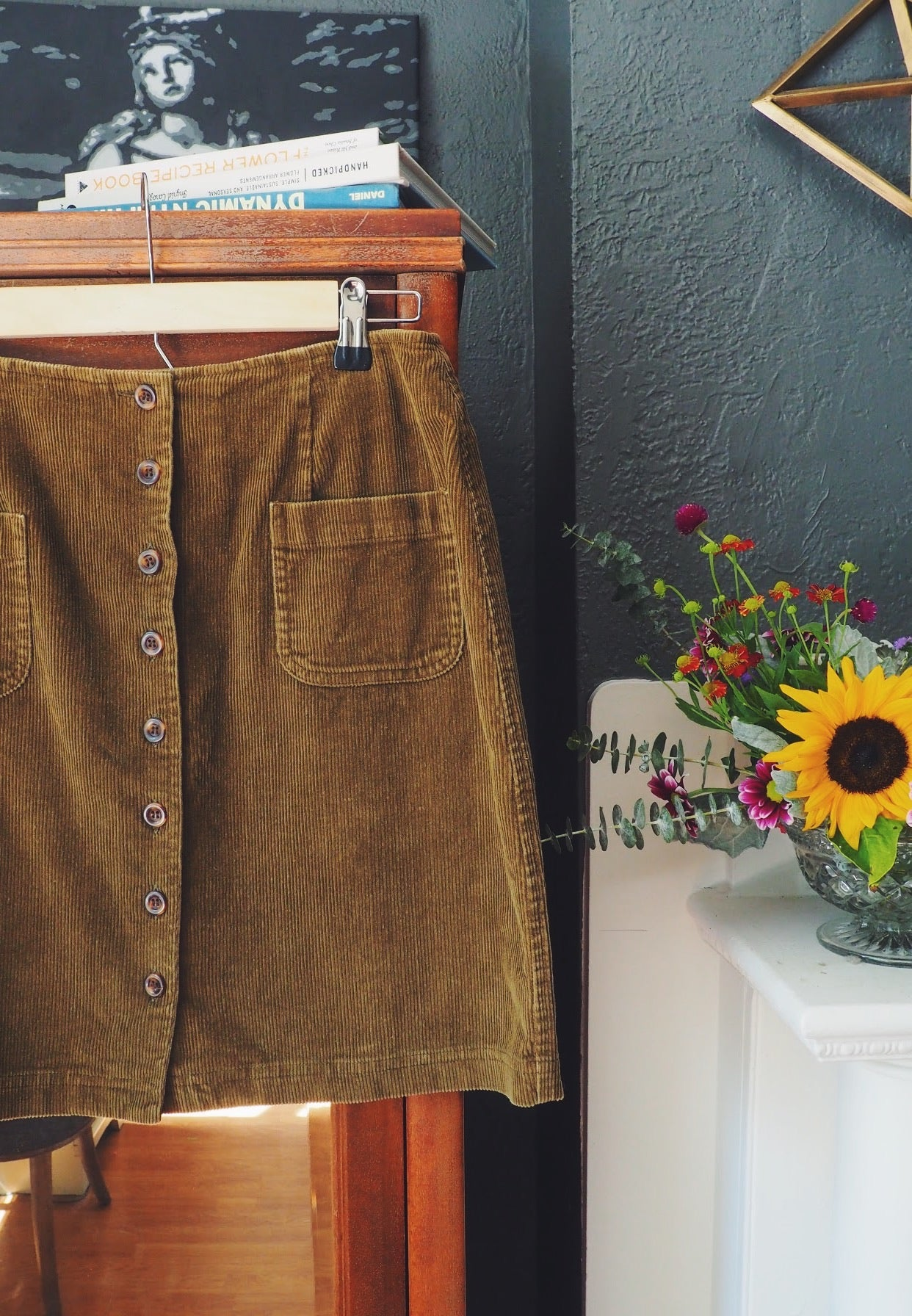 Vintage Olive Green Corduroy Button Front Skirt