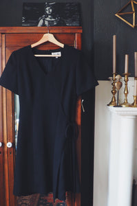 Black Faux-Wrap V-Neck Dress