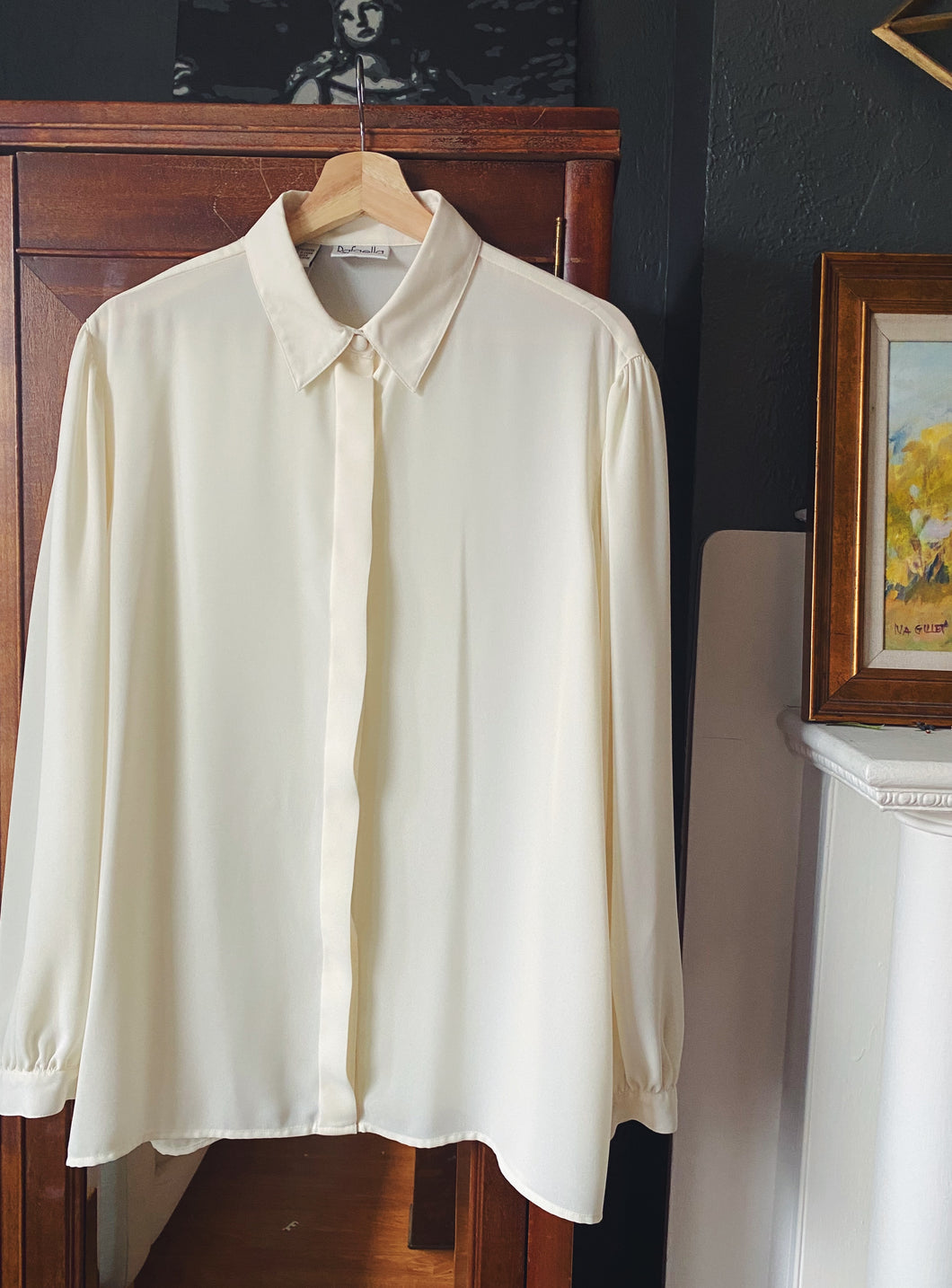 90s Creamy Sheer Long Sleeve Blouse