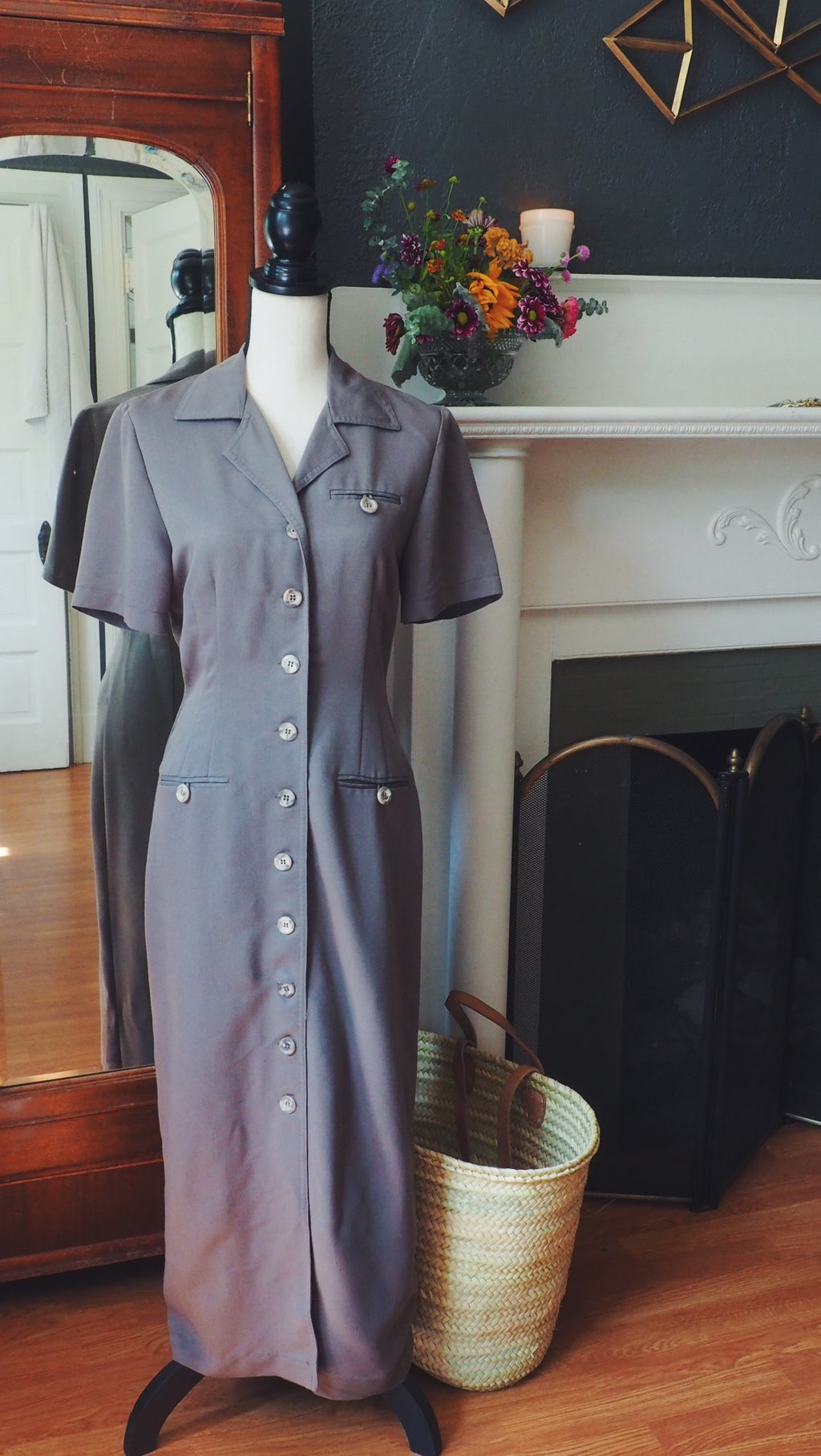 Olive Button Down Dress with Marble Buttons