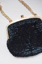Load image into Gallery viewer, Vintage Black Beaded Evening Purse with Gold Chain