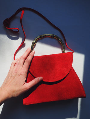 Vintage Red Suede Handbag
